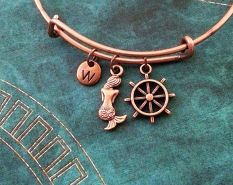 Mermaid Bangle Bracelet Copper Ship's Wheel Bracelet Wheel Bangle Mermaid Bracelet Stackable Bangle Personalized Bangle Expandable Bracelet