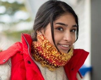 Yellow & Red Multicolor Wool and Acrylic Neck Warmer Scarf
