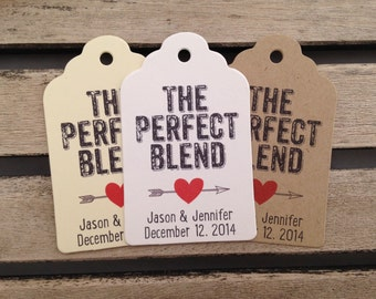Wedding Gift Tags - The Perfect Blend - Wedding Favor Tags - Customizable Personalized (WT1450)