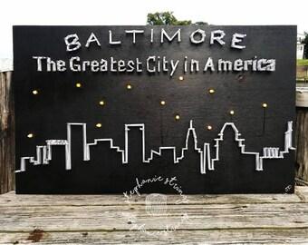 Baltimore Skyline String Art - Baltimore Skyline / Baltimore Art / Baltimore Decor / Maryland Gifts for Him & Her