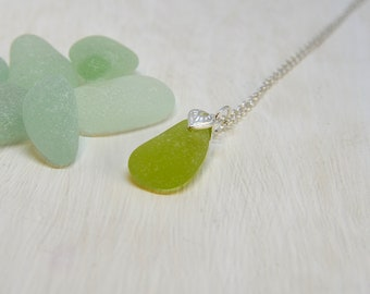 Sea Glass Necklace, Upcycled Jewelry, Sea Glass Pendant, Yellow Sea Glass Necklace, Jewellery Gift For Her, Rare Sea Glass