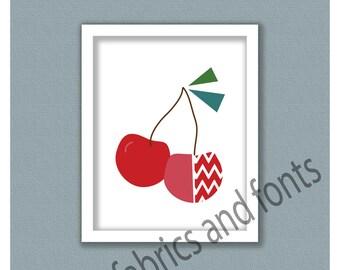 Red Cherries fruit print; apple; fruit instant download; digital print; fruit art; fruit print; cherry art; cherries art; cherry print