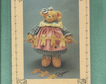 Homespun at Heart Designs HS21  Homespun Soft Stuffed Bear in Her Country Frock Size 12 inch UNCUT