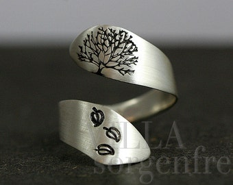 Sterling Silver Tree of Life ring. Wrap ring with hand stamped tree and leaves. Adjustable. Gift for her.
