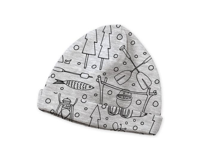 SALE! Newborn Gray Baby Hat, Infant Baby Hat Girls Boys, Baby Boy Beanies, Baby Girl Beanies Gray, Happy Camper Baby Hat, Tesa Babe