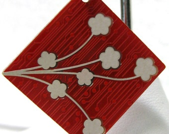 Circuit Board Keychain with Cherry Blossoms and Heart