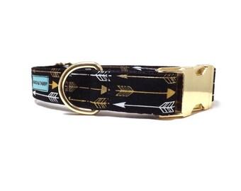 Golden Arrow Dog Collar | Available in 4 widths | Metallic Gold Arrow Collar
