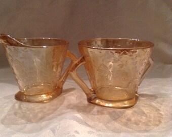 Jeannette Glass Company Floragold Cream and Sugar