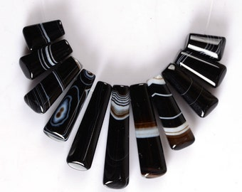 g2548.5 15mm to 40mm White strip Black agate 11pcs sticks graduated loose beads pendant beads set