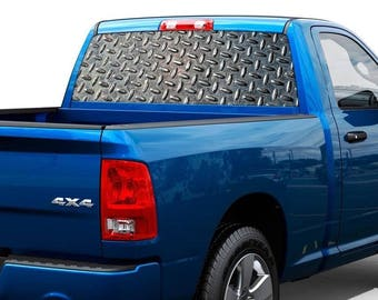 Metal plate texture Rear Window Decal Sticker Pick-up Truck SUV Car