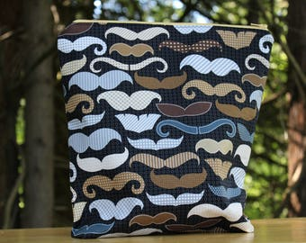 Mustache Zipper Bag, Gifts for Dad, Father's Day Gifts, Gifts for Him, Gifts for Knitters, Gifts for Crochet, Cotton Zipper Pouch Purse