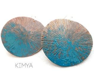 Enameled Earrings - Turquoise Enamel Earrings - Hammered Copper Earrings - Modern Dangle Earrings - Textured Earrings - Contemporary Jewelry