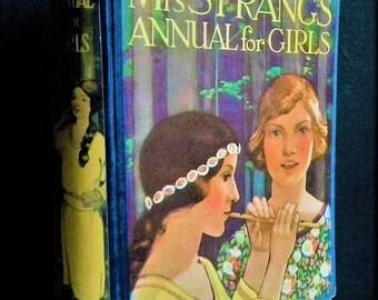 Vintage 1920s book - Mrs Strang's Annual for Girls Mrs Herbert Strang - antique 20s illustrated children's book - colour plates - childhood