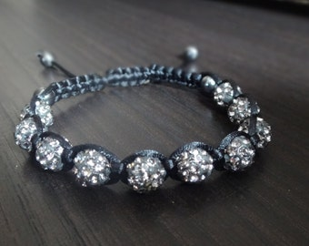 Handmade in USA Gray Gunmetal Disco Ball Macrame Adjustable Bracelet with 8mm black discoballs, Black Silk Macrame Cord