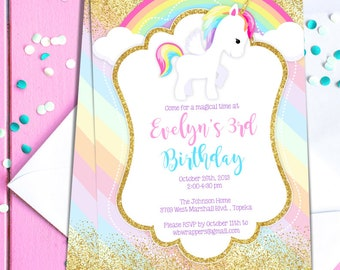 Diy unicorn invite etsy unicorn birthday party invitation template pastel rainbow unicorn theme pdf template diy create today stopboris Images