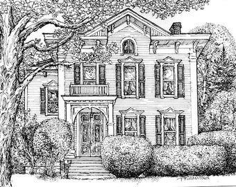 Pen and Ink House Drawing-Watercolor House Portrait-Original Custom Portrait of Your Home