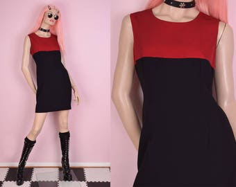 90s Black and Red Dress/ Medium/ 1990s/ Tank/ Sleeveless