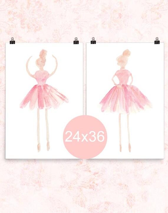 Ballerina Posters in Pink, 24x36 Set of 2