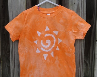Kids Sun Shirt, Kids Orange Sun Shirt, Kids Sunshine Shirt, Batik Kids Shirt, Orange Kids Shirt, American Made Kids Shirt (4)