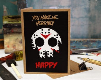 Jason Horror Card, Birthday, Love, Anniversary Screen Printed by Hand.