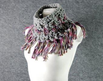 Fringe cowl, Crochet cowl, Scarf, Neck warmer, Chunky crochet scarf, Tube scarf, Crochet neck scarf, Christmas Gift Idea, Stocking stuffer