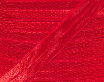 Red Fold Over Elastic - Elastic For Baby Headbands and Hair Ties - 5 Yards of 5/8 inch FOE