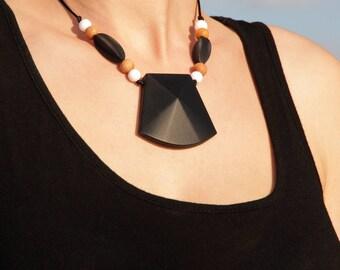 """Necklace/Still Chain """"Benita black"""" Silicone wood Jewelry"""