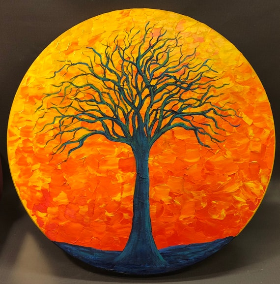 """ORIGINAL abstract tree pallette knife painting, 18"""" diameter on wood panel by Mell Smith."""