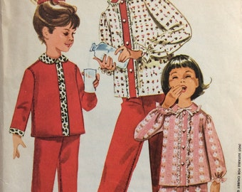 McCall's 6067 girls pajamas size 12 bust 30 vintage 1960's sewing pattern  Designed by Juli of Slumbertogs