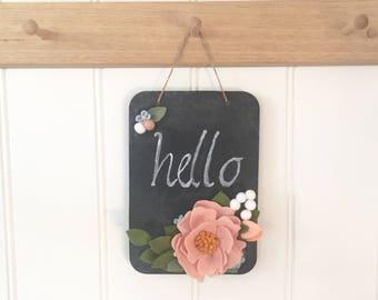 Felt Flower Chalkboard - Pretty Posy - Wall Decor - Nursery Name SIgn