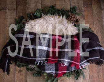 Newborn digital backdrop - Newborn digital background - Holiday wreath with fur and flannel - Newborn digital prop