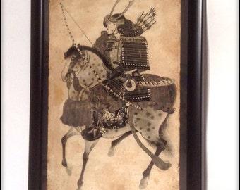 Aged Reproduction Samurai on horseback print in frame.