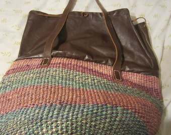 Vintage Raffia & Leather bag