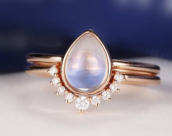 Moonstone Engagement Ring Rose Gold Vintage Delicate Diamond Wedding women Bridal set jewelry Simple Pear Shaped Cut Stacking Anniversary