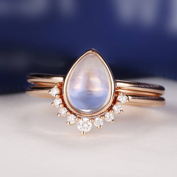 Moonstone Engagement Ring Rose Gold Vintage Delicate Diamond