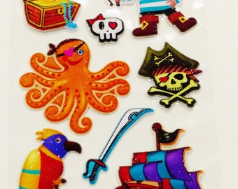 sheet of 15 stickers embossed pirate treasure chests boat skull