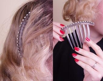 Vtg 50/60s Clear Rhinestone Hair Comb // Bridal Wedding Party Gatsby Art Deco Look