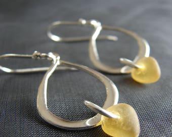 Sea glass drop earrings / seaglass jewelry / amber earrings / gift for friend / beach glass earrings / sea glass earrings /everyday earrings