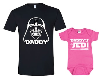 Darth Vader,  Daddy's Little Jedi, Princess Leia T-shirt Baby Grow - Star Wars Inspired Matching Father Child - Father's Day Daughter Dad