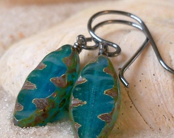 Beaded Dangle Earrings - Drop Earrings - Blue Earrings - Boho Earrings - Hypoallergenic - Titanium Earrings - Oxidized Silver Earrings