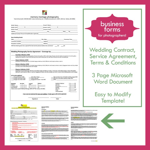 Wedding photography contract template business form for friedricerecipe