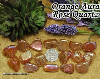 Orange Aura Rose Quartz tumbled stone for crystal healing