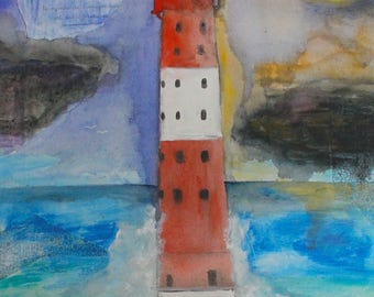 Lighthouse Print A4 Mixed Media Art Leuchtturm