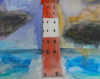 Lighthouse Print A4 Mixed Media Art Leuchtturm