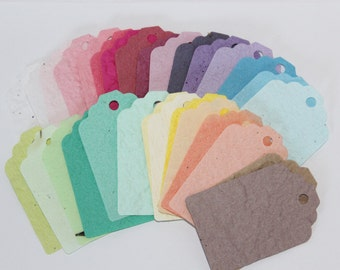 12 Eco Friendly, Seed Gift Tags mixed colour rainbow,  plantable paper , Recycled paper with seeds embedded