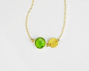 Custom Birthstone necklace, Mothers Day gift for Mom  August Birthstone initial necklace peridot necklace custom bridesmaid necklace peridot