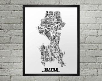 Seattle Washington Neighborhood Typography City Map Print