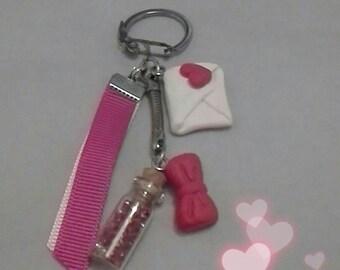 Keychain, bag charm or telephone theme love polymer clay
