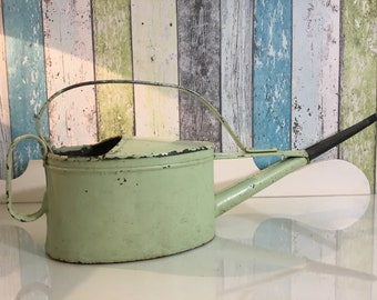 Beautiful old mint green watering can - 3 L - zinc can - rose can - greenhouse can - flower can - cottage garden / from 1940 to 1950