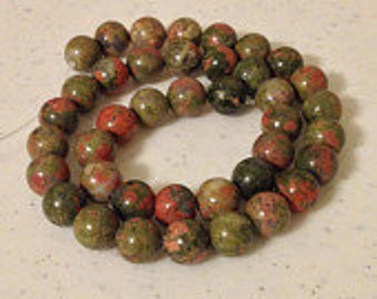 Unakite 10mm Gemstone Beads, 15.5 Inch Long Strand with 38 Beads